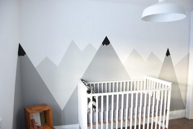 cameretta neonato montagne dipinte
