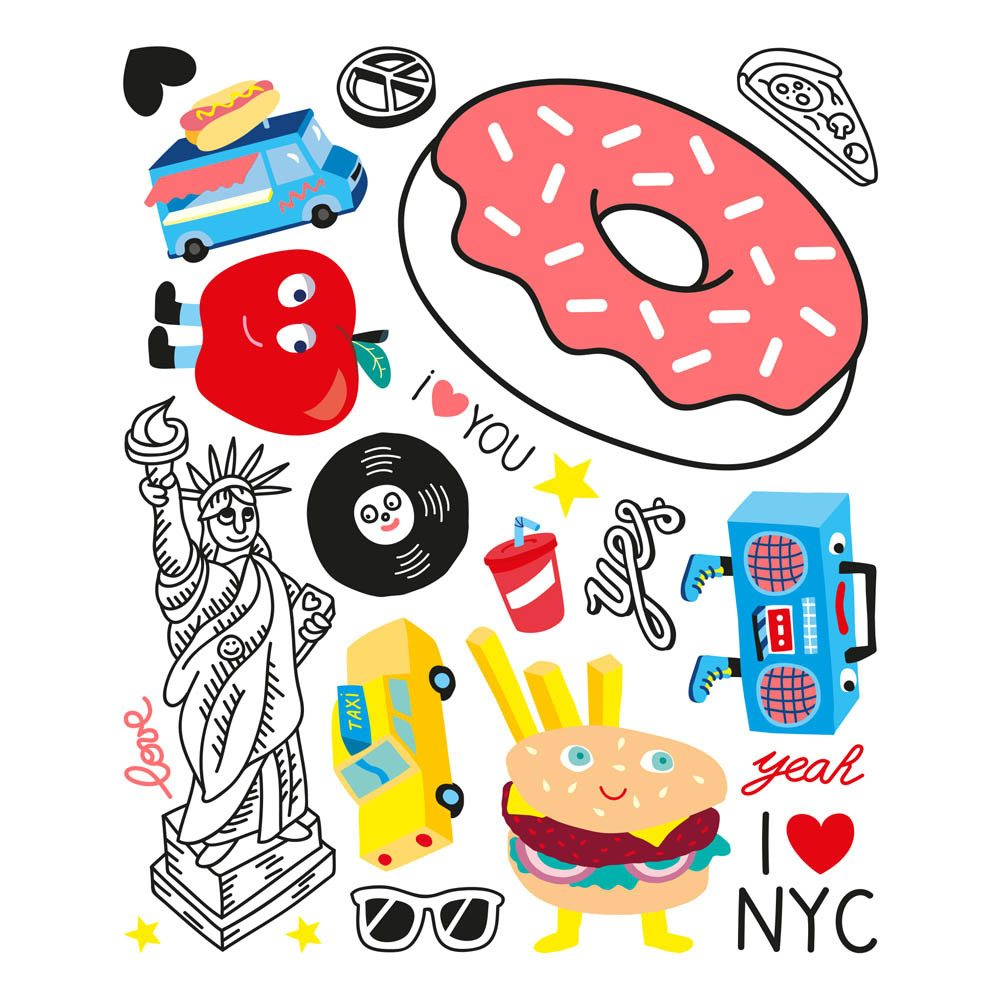 idea regalo per bambini set decalcomania omy a tema new york
