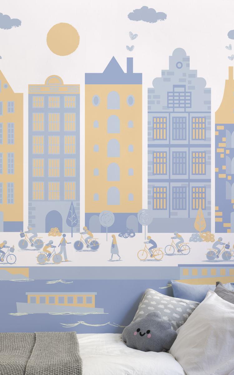Colori pareti camerette la carta da parati e 39 la soluzione ninakina - Colori pareti camerette bambini ...