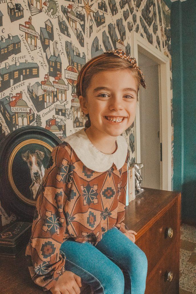 blusa per bambina sartoriale stampa vintage ourgang