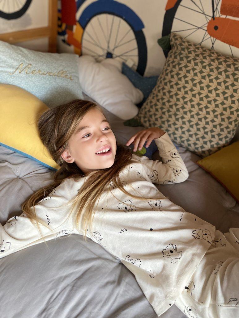 pigiama in cotone a manica lunga per bambina kiabi